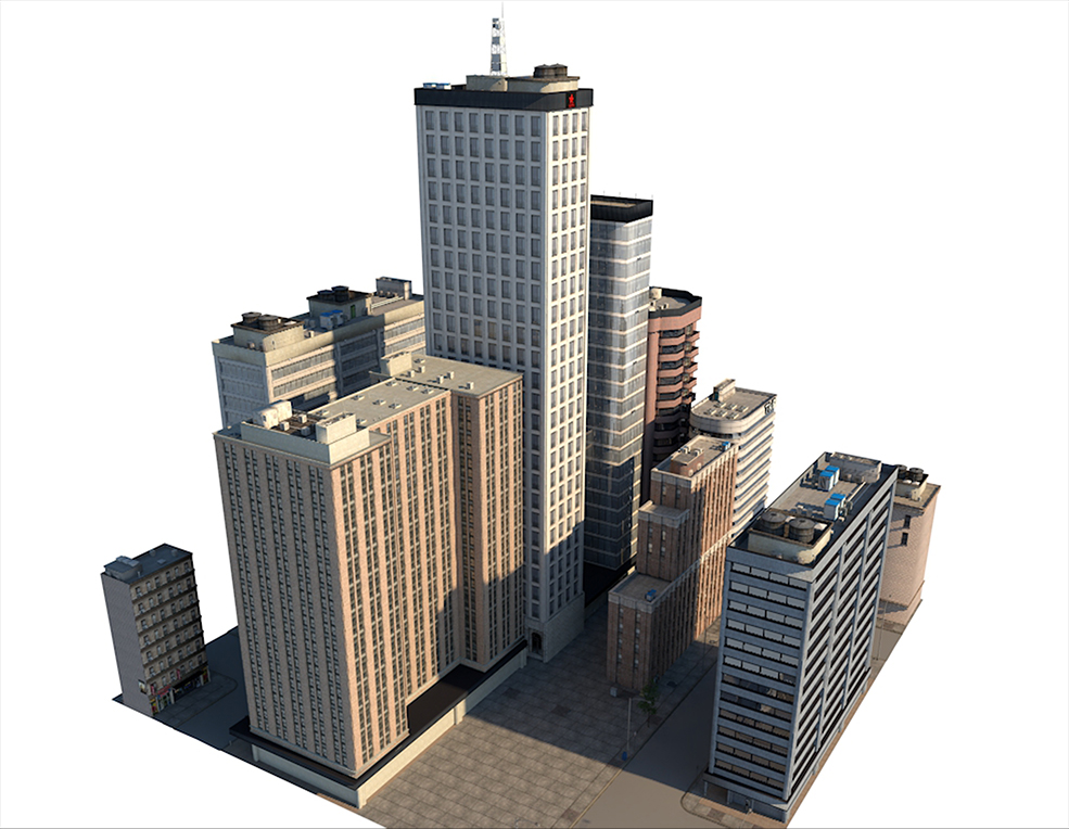 5套城市高楼大厦建筑C4D模型 City Building 5套C4D城市街区模型合集 City streets