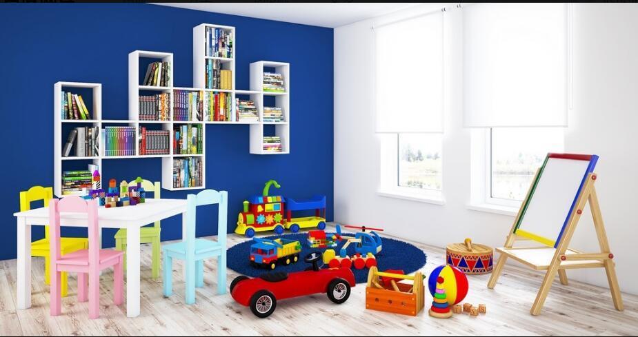 C4D模型 室内设计儿童房 桌椅家具 画板 玩具车 地毯 积木 小火车