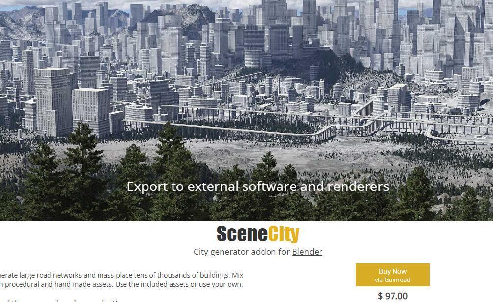 SceneCity Pro 1.5.0 for Blender 2.8 快速创建城市建筑Blender插件