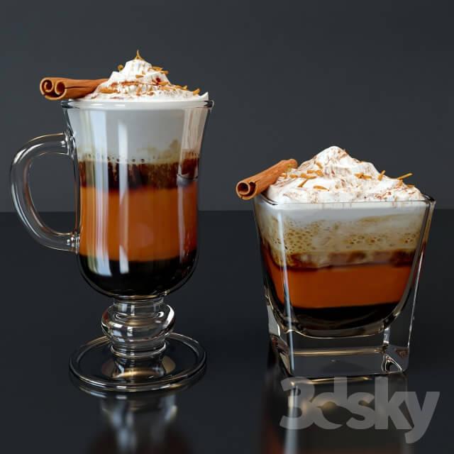 Irish Coffee  爱尔兰肉桂咖啡和玻璃杯子模型