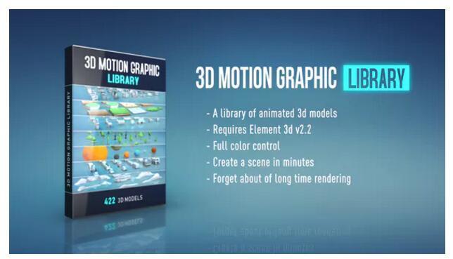 AE模板预设-422组低多边形室内外建筑树木汽车飞机E3D/Element 3D模型包