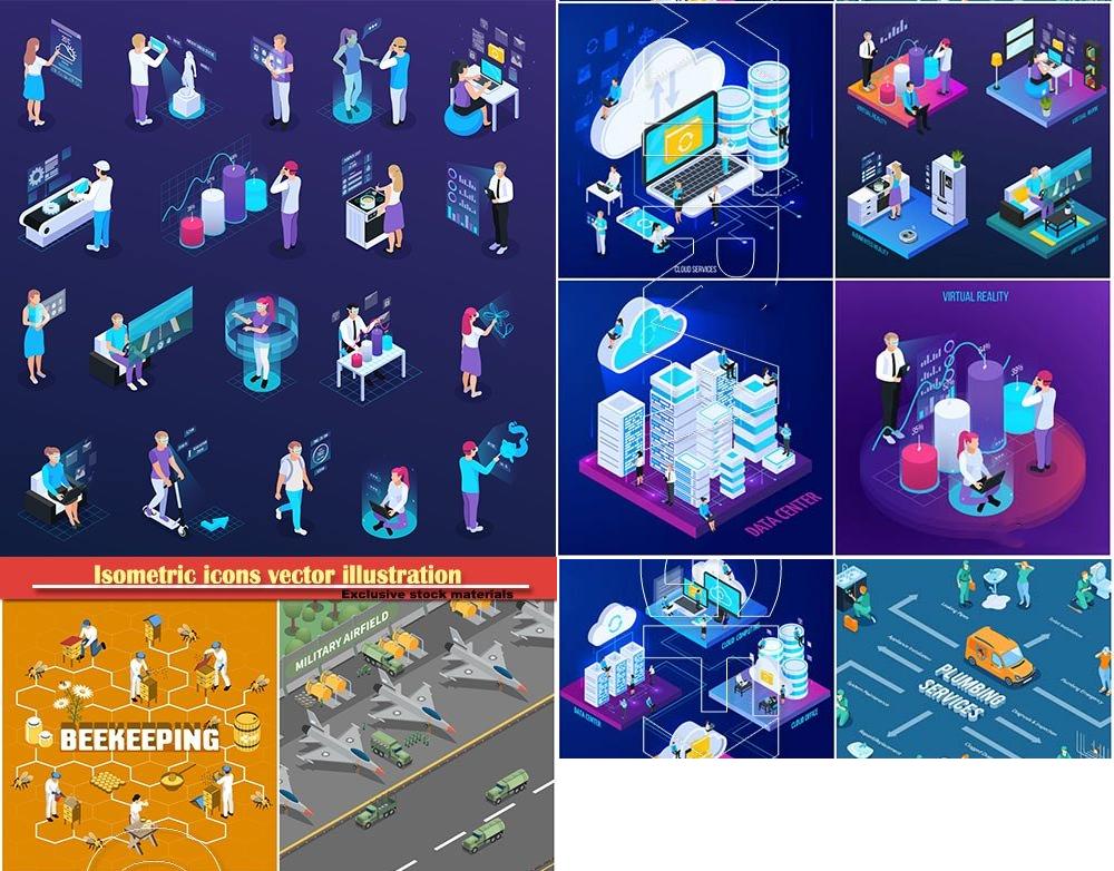 等距图标矢量图横幅广告设计模板Isometric icons vector illustration, banner design template # 50