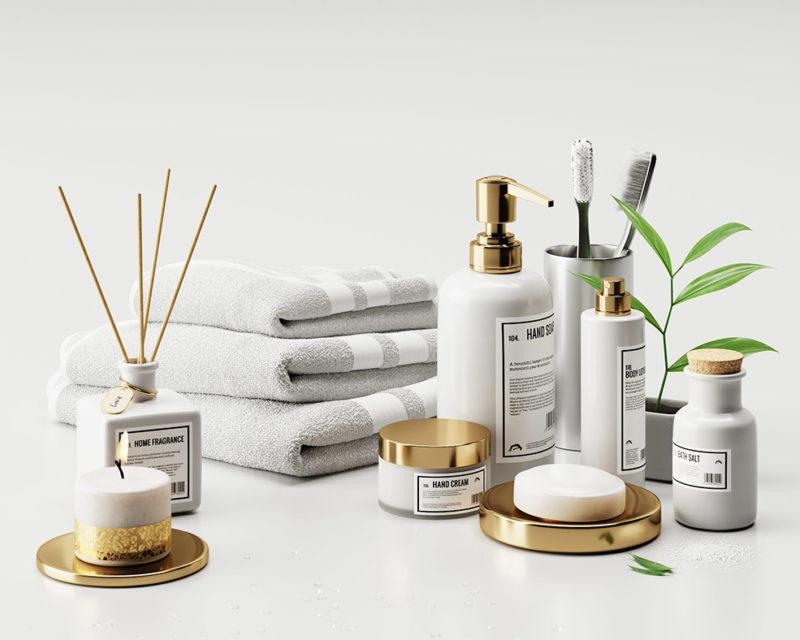 C4D Corona浴室洗簌用品模型 Bathroom supplies 产品化妆品护肤 [