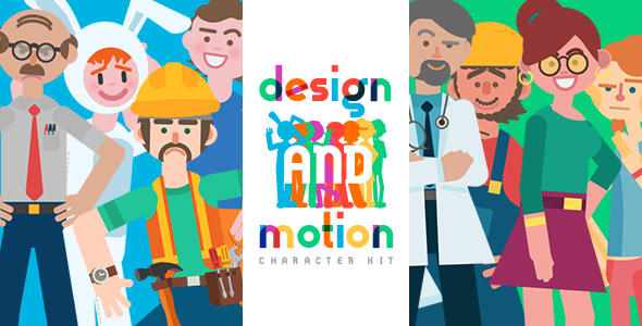 二维卡通漫画人物职业角色动作绑定MG动画片头工具包Design and Motion Character Kit 2083803