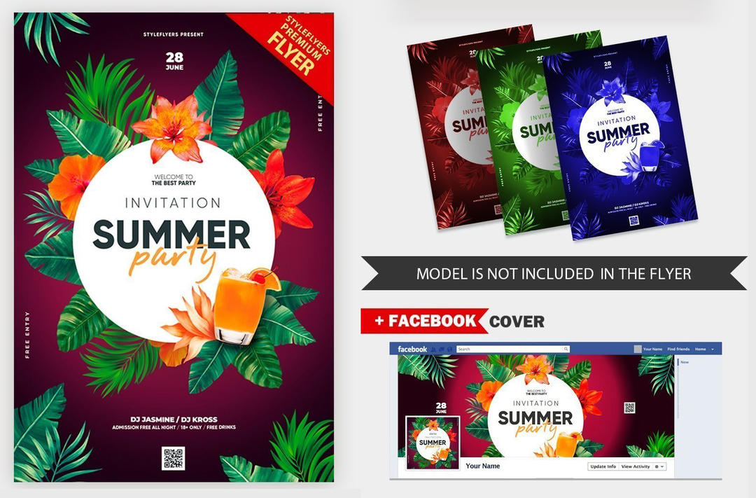 夏季派对热带植物饮料海报Summer Party Invitation V16 2019 PSD Flyer Template