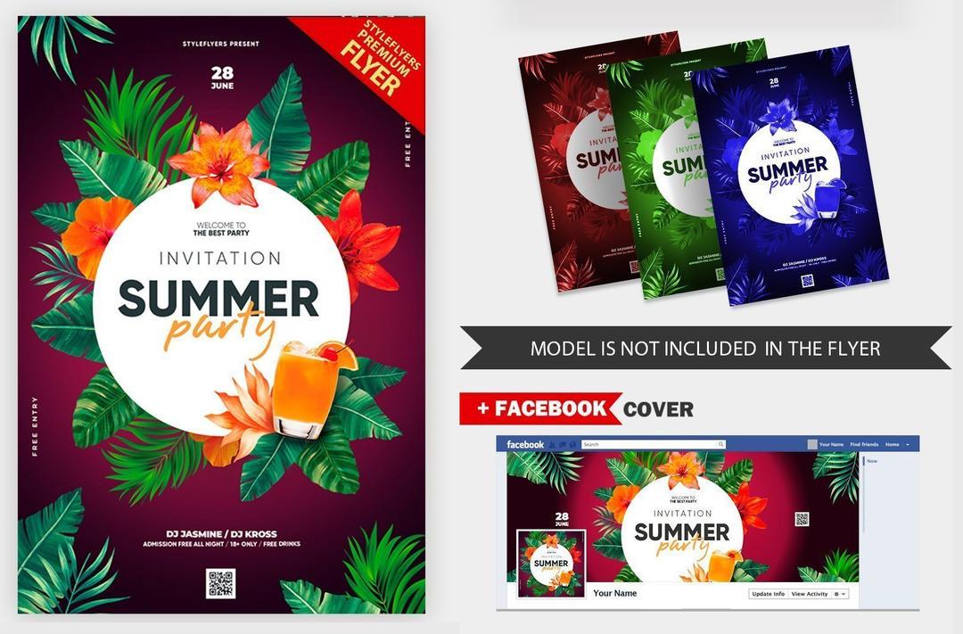 夏季派对热带植物饮料海报Summer Party Invitation V16 2019 PSD Flyer Template