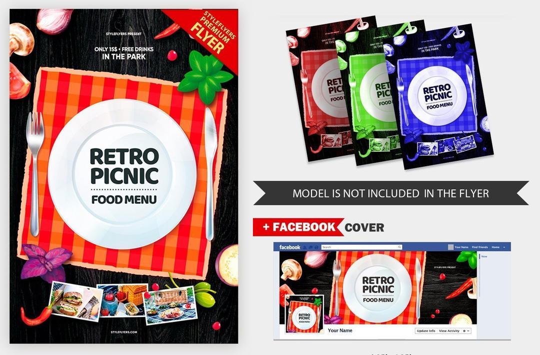饭店餐厅海报模板Retro Picknick Food Menu V16 2019 PSD Flyer Template
