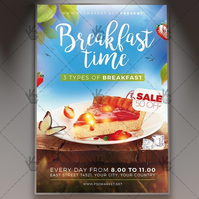 早餐甜品高级传单psd模板Breakfast time - Premium flyer psd template