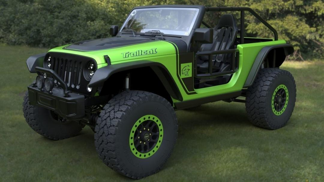 吉普牧马人拖车2017款模型Jeep wrangler trailcat 2017 HQ 3D-Model
