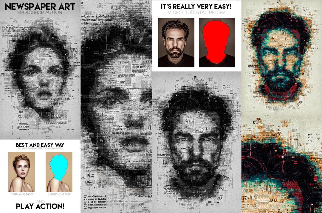 报纸艺术PS动作 报纸艺术海报PS动作  Newspaper Art Photoshop Action 14103713