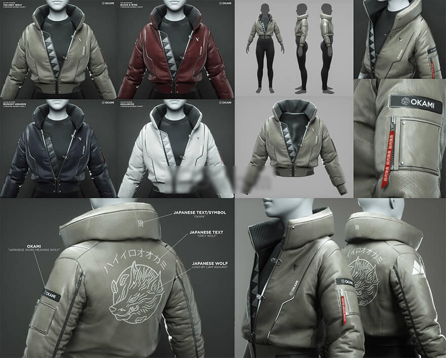 FlippedNormals - Cyberpunk Bomber Jacket - 3D Fashion Design Course by MRDavis