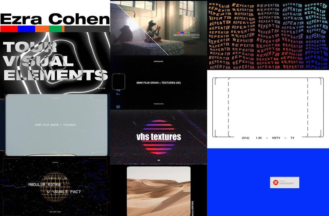 电影特效合成视觉元素包v1 Ezra Cohen Store Full Bundle 电影噪点镜头遮幅边框取景框VHS复古图片4K视频素材