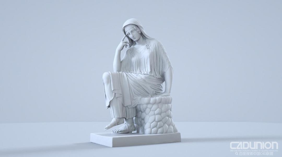坐立的女人石膏像雕塑C4D精细模型