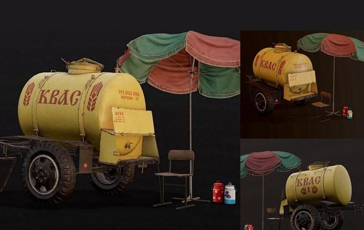 Soviet Kvass Barrel 3d model 苏联克瓦斯桶3d模型 格瓦斯饮料桶模型