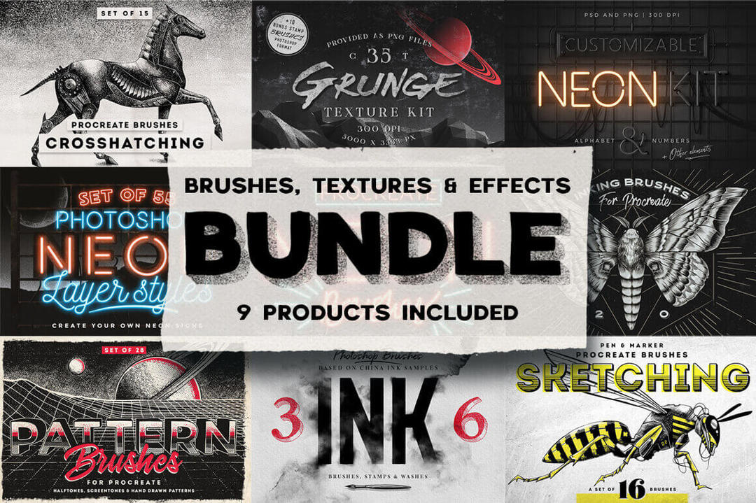 Mightydeals 100+ Unique Brushes Textures & Effects