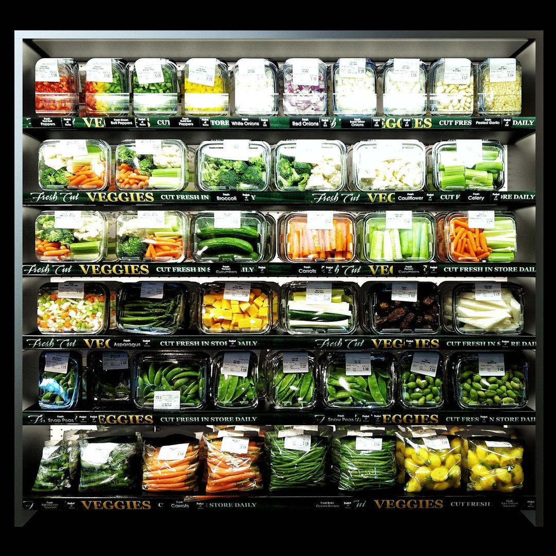 Shelves with vegetables 3D model超市盒装蔬菜模型