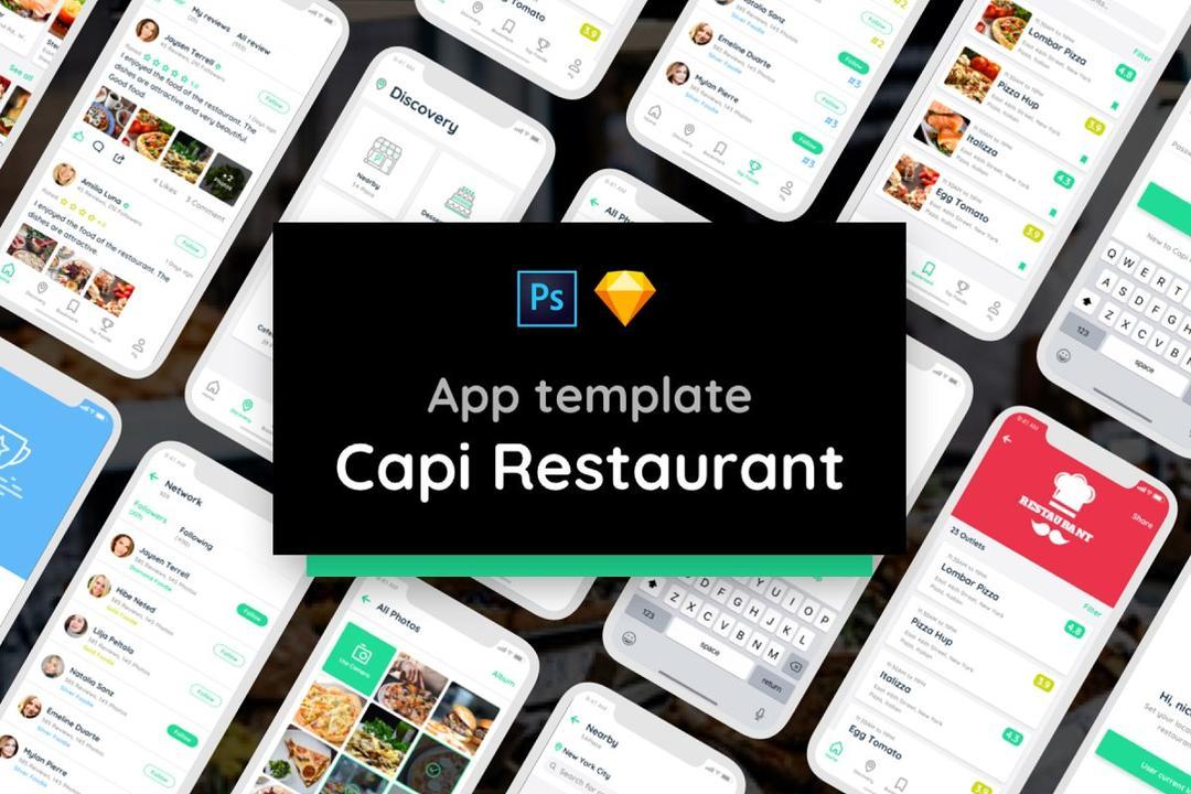 Capi Restaurant UI Kit iOS iphone X