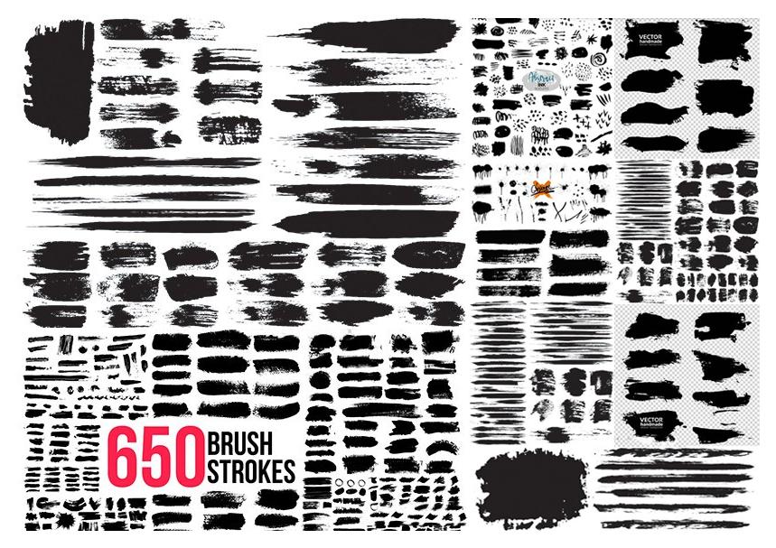 Grunge textured black ink brush strokes big collection elements黑色墨水笔触纹理元素集合