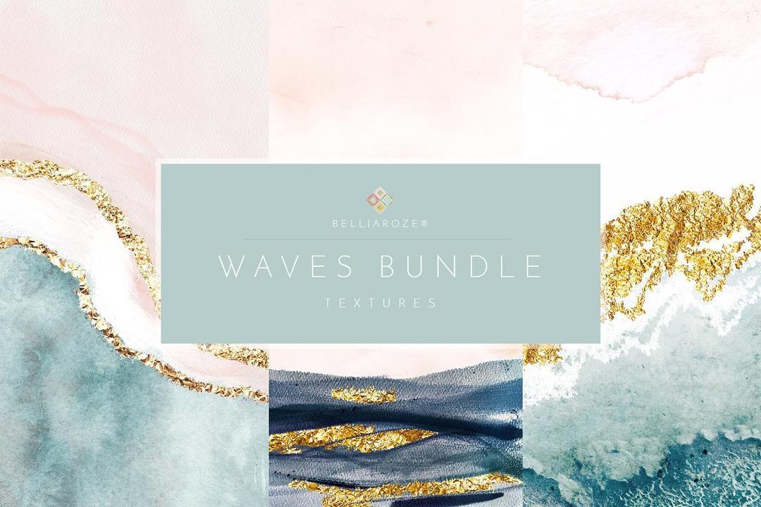 BUNDLE Watercolor Waves of Gold 4152547金色花边水彩背景 金线纹理素材合集 金粉水彩纹理