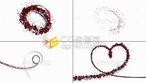 6种玫瑰花瓣路径生长动画心形旋转带Alpha透明通道视频素材下载
