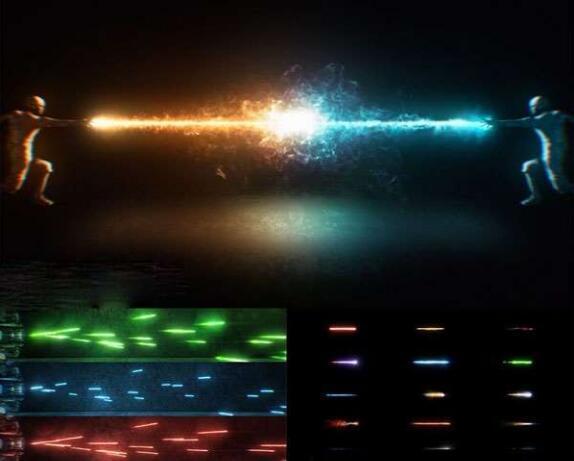 115组科幻冲击能量波魔法武器开枪火焰光线特效合成4K视频素材