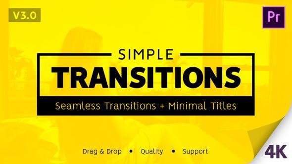 Simple Transitions PR模板-425个简单实用4k无缝转场特效和50个小标题含音效竖向IGTV多种分辨率可调