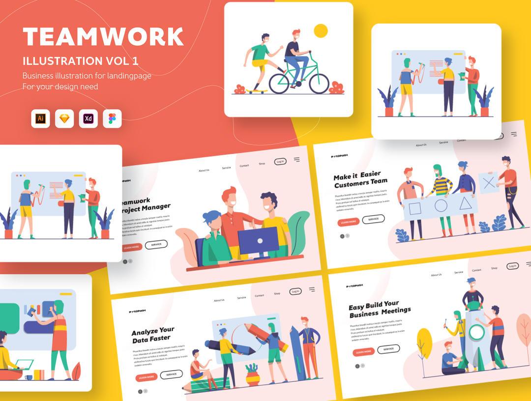 Illustration Startup Teamwork Pack Vol.1