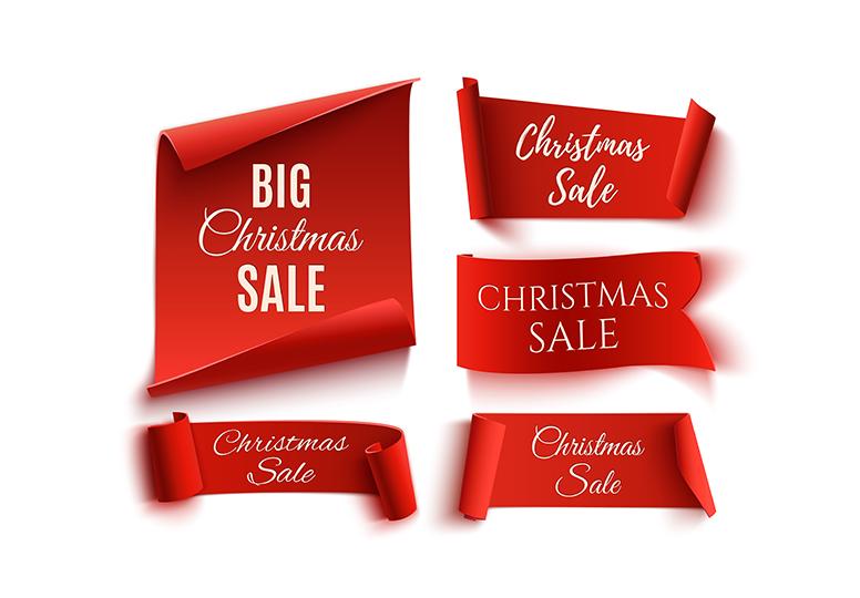圣诞节和黑色星期五矢量销售礼盒彩带丝带素材Christmas and Black Friday vector sale
