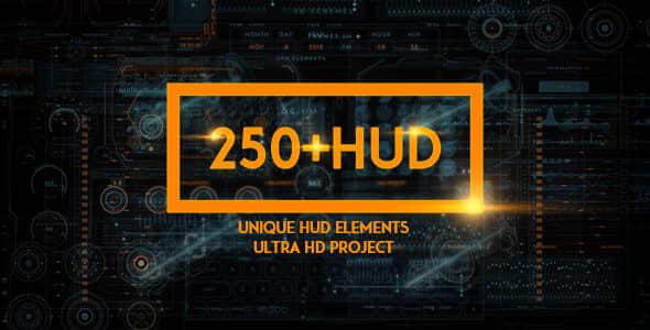 250个科幻HUD动画元素AE模板