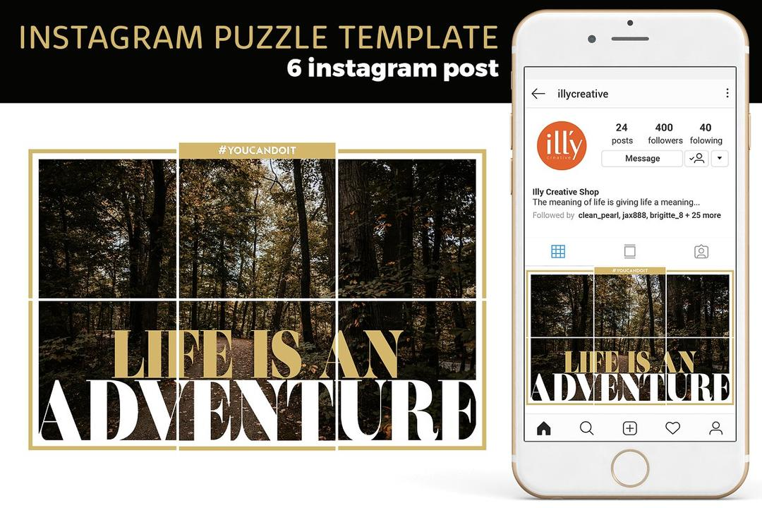 Instagram Puzzle Template 社交媒体拼图模板