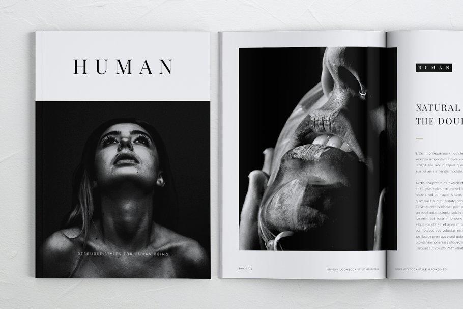 HUMAN Minimalist Lookbook Magazines 时尚画册模板