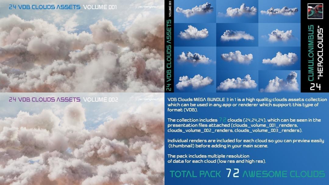 VDB Clouds MEGA BUNDLE 3 in 1 3D model体积云模型 云彩模型 云朵模型