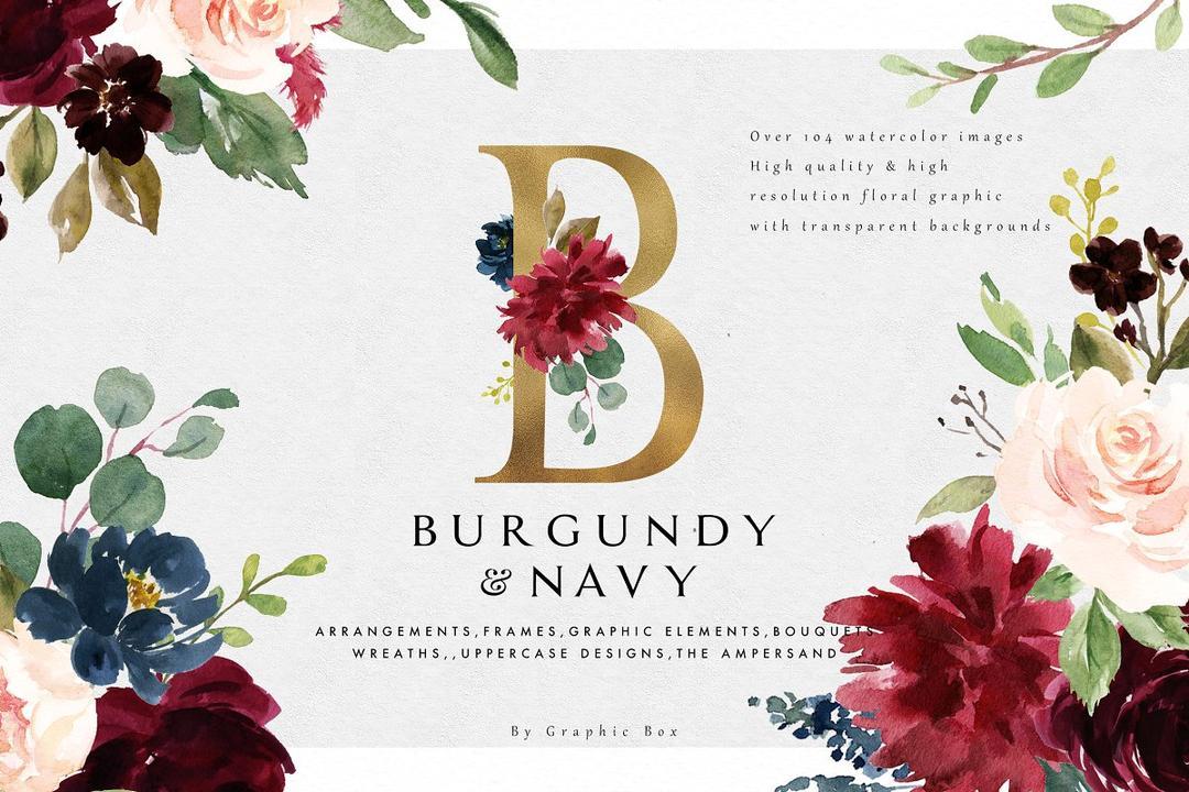 Burgundy Navy Floral Graphic Set 2258373