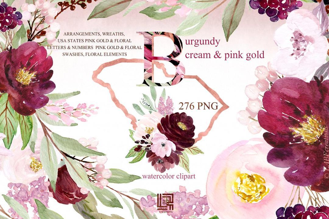 CM - Burgundy cream gold pink flowers 2965031