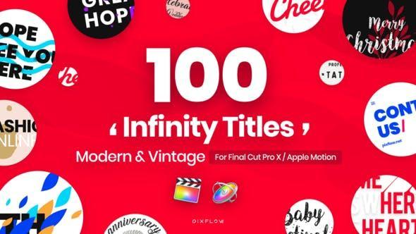 FCPX插件 101个现代流行复古怀旧创意文字标题排版设Videohive Infinity Titles for Final Cut Pro 24153177