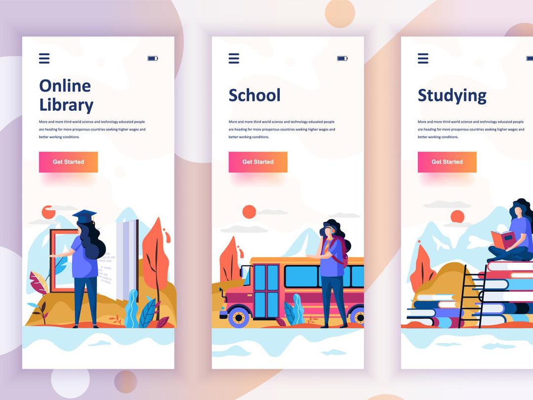 Instagram Stories Onboarding Screens Mobile App手机APP 业务概念插画