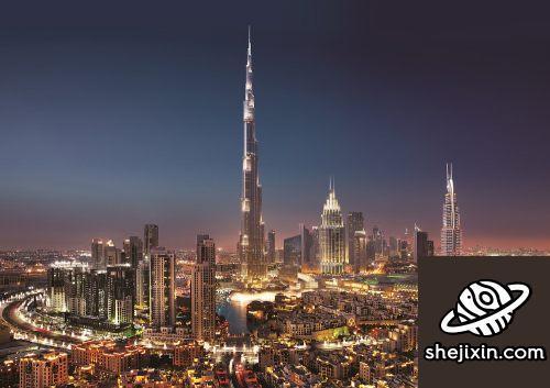 Night City Scene with Skyscrapers迪拜摩天大楼与城市夜景模型