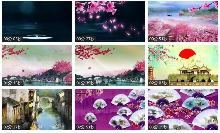 中国水墨风格 江南水乡红梅花瓣飘落LED舞台背景动态视频(有音乐)
