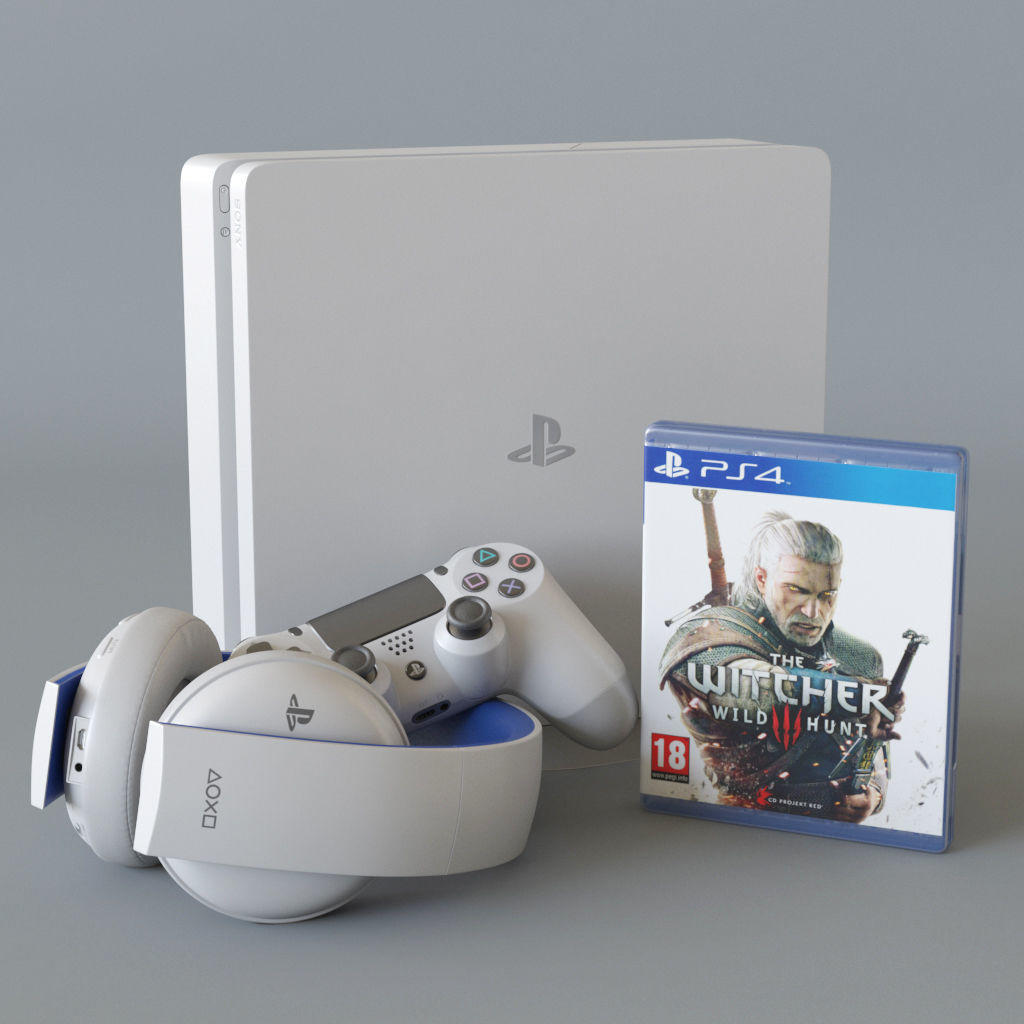 Sony Playstation 4 slim white bundle 3D model