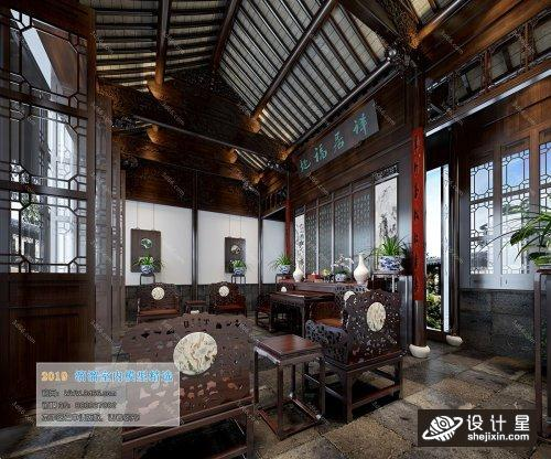 中式餐馆茶楼酒楼模型 茶馆模型 Dining Room Kitchen 68