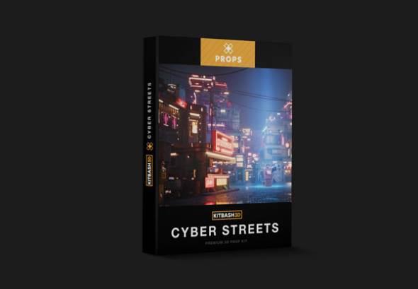 赛博朋克未来科幻街道楼房3D模型 KitBash3D Props Cyber Streets (MAX/OBJ/FBX/MTL格式)