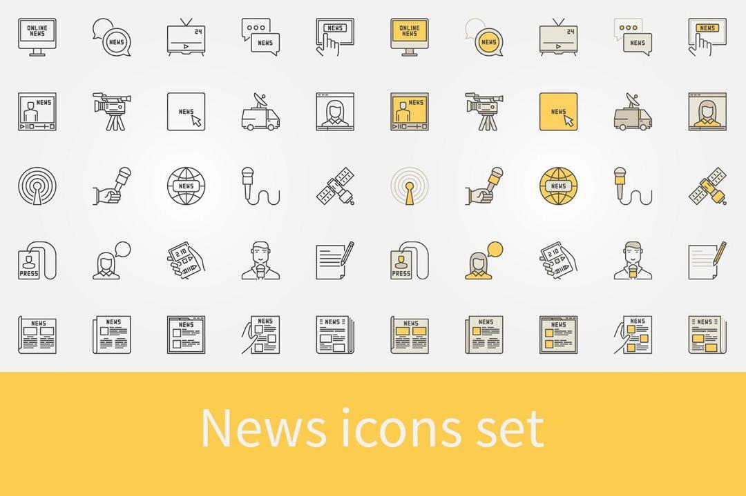 News icons set 1436467 新闻icon图标