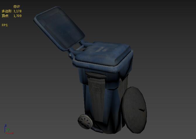 小区塑料垃圾桶模型max+fbx