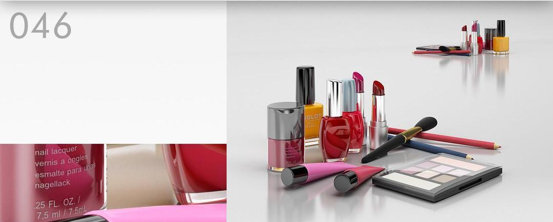 女性化妆品模型:口红、眼影、指甲油、增白粉C4D模型,3D模型,C4D之家