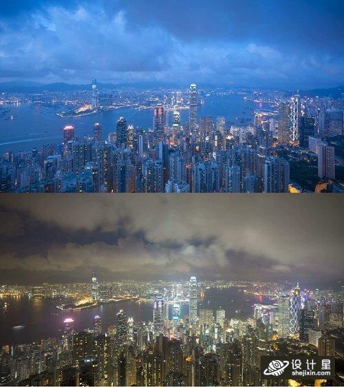 从维多利亚山顶俯瞰香港城市延迟动画 香港高清视频素材