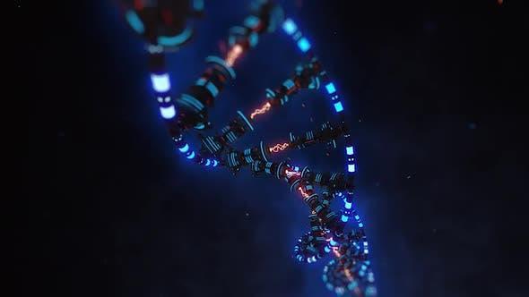 Robot Dna 赛博朋克科幻感DNA视频素材  VJ舞台DNA视频素材