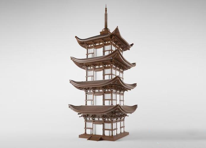 Pagoda japan style 高精度日本佛塔3d模型 精细木塔木质结构塔外架斗拱雀替四椽栿