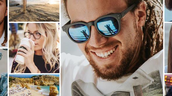 简单旅行相册拼贴照片墙展示-AE模板下载Photo Gallery Promo