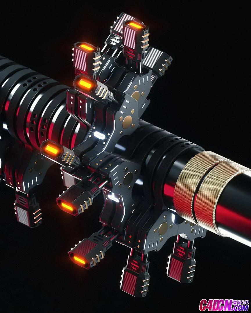 Octane渲染器机械金属枪C4D工程_C4D模型