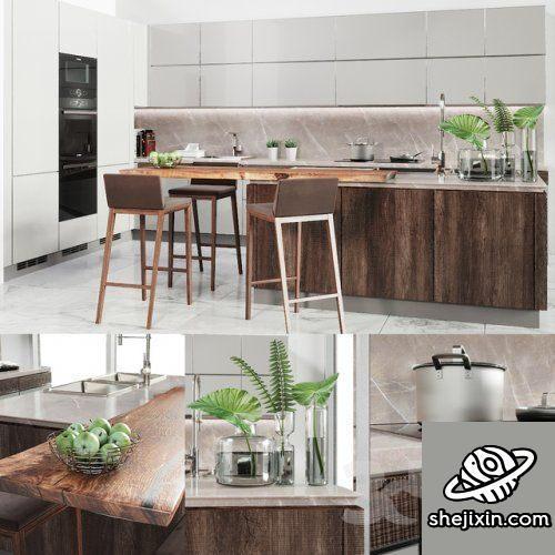 Verona Mod wood kitchen furniture 木制厨房家具 室内开放式厨房模型